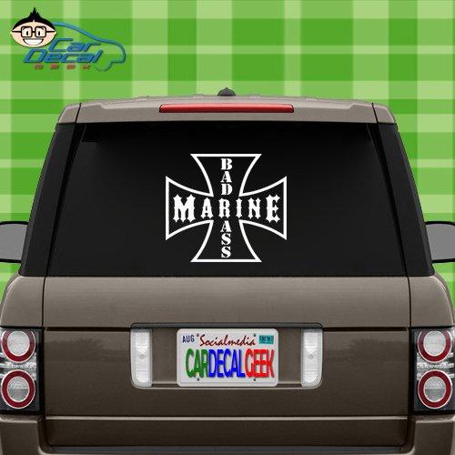 Car Decal Geek Bad Ass Marine Vinyl Decal Sticker Bumper Cling for Car Truck Window Laptop MacBook Wall Cooler Tumbler | Die-Cut/No Background | Multi Sizes/Colors Black, ()