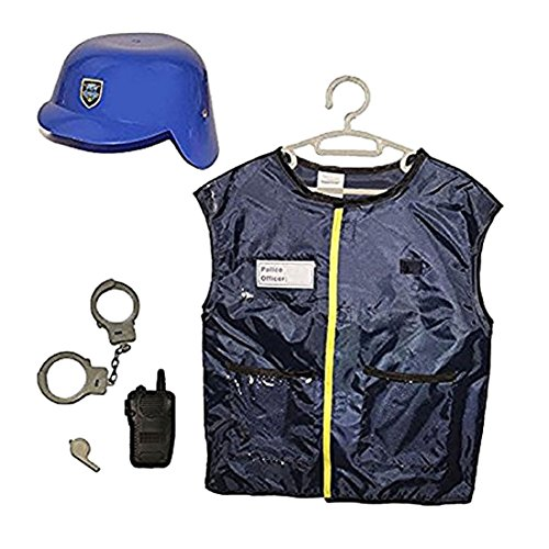Police Officer Role Play Dress Up Costume Kit - 5 Piece Set Includes Auxiliary Unit Vest, Helmet and Accessories - Childrens Law Enforcement Outfit Party Favor - Halloween Costume Play Set - Swat Officer With Helmet Child Costume