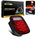 Partsam Combo LED Red Stop Turn Tail Light + White Backup License Lamp for Truck Jeep Ford