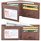 Men's Wallet - RFID Blocking Cowhide Leather Vintage Trifold Wallet (Coffee)