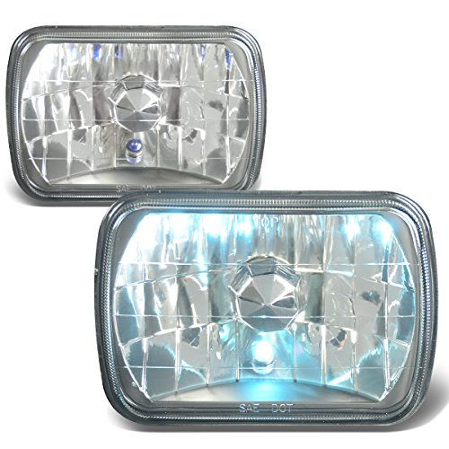 Headlights Black Diamond - 7X6 inches Diamond Cut Black Housing Clear Glass Lens Headlights/Lamps - Pair
