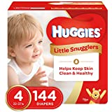 Huggies Little Snugglers Baby Diapers, Size 4 (fits 22-37 lbs.), 144 Count, Economy Plus Pack (Packaging May Vary)