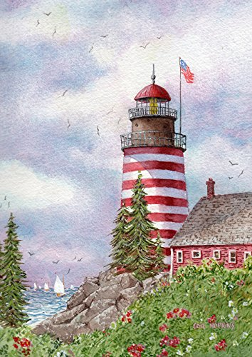 Toland Home Garden Quoddy on the Narrows 28 x 40 Inch Decorative Spring Lighthouse Maine Nautical House Flag