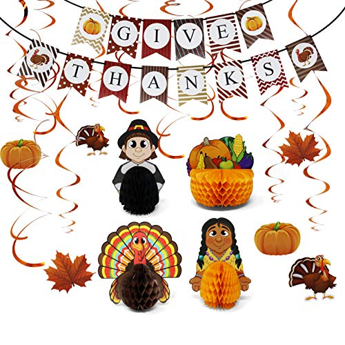 JOYIN Thanksgiving Party Decoration Set Including 4 Thanksgiving Decorative Playmates, 1 Banner Hanging Garland, 6 Foil Swirls with Decorative Hanging Cutouts and 6 Double Thread Foil Swirls for Thanksgiving Holiday Decor
