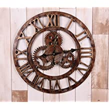 """20"""" Handmade Oversized 3d Retro Rustic Decorative Luxury Art Big Gear Wooden Vintage Large Wall Clock on the Wall for Gift XT5016 (Roman numerals Rusted iron)"""