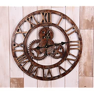 20  Handmade Oversized 3d Retro Rustic Decorative Luxury Art Big Gear Wooden Vintage Large Wall Clock on the Wall for Gift XT5016 (Roman numerals Rusted iron)