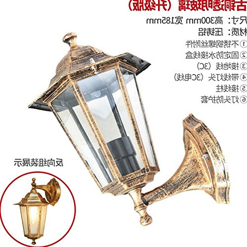 RLYYBE1 European style wall lamp wall aisle outdoor light led lights American waterproof outdoor retro wall lamp garden lights, bronze transparent glass (upgraded (European Lacquer)