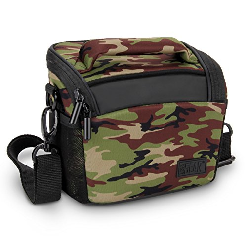 USA Gear Bridge Camera Bag Camo Green w/Protective Neoprene Material, Rain Cover and Adjustable Dividers Works W/Nikon Coolpix/Canon PowerShot/Sony Cyber-Shot/Panasonic Lumix & More (Camouflage Camera Case)