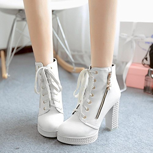 mujer 11cm Zipper Blanco Boots Shoes Blanco toe Otoño Best Martin PU 4U® Shoes Chunky Zapatos Tacones High Negro de Round O7wfRxtq