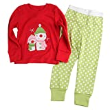 [Baby House] Boys Girls Christmas pajama T shirt+long pants A7168T6#Y1 size 6T