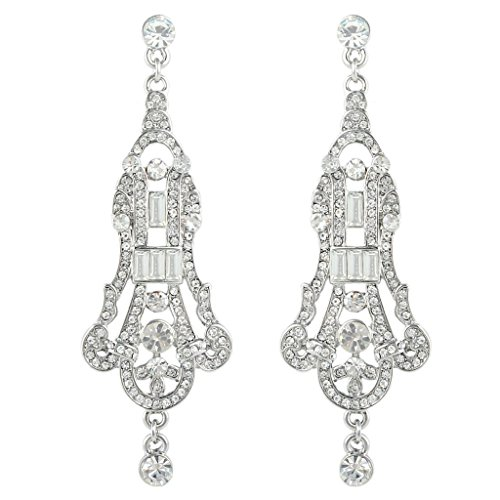 EVER FAITH Austrian Crystal Art Deco Chandelier Wedding Pierced Dangle Earrings Clear (Victorian Style Earrings)
