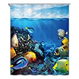 Fish Shower Curtain Rings CHUN YI Digital Printed Polyester Waterproof Bathroom Shower Curtains 72x72 (72x72inch, Fish)