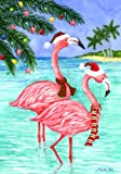 Flamingo Christmas – 12 Inch X 18 Inch Garden Size Decorative Flag For Sale