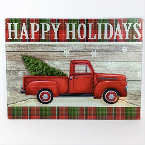 (Decorative Christmas Glass Cutting Board Happy Holidays Red Truck)