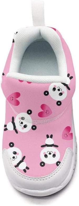 ONEYUAN Children Pink Baby Panda Bears and Hearts Kid Casual Lightweight Sport Shoes Sneakers Walking Athletic Shoes