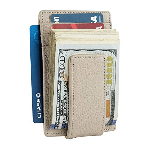 Money Clip Leather Wallet For Men Slim Front Pocket RFID Blocking Card Holder With Super Strong Magnetic (Gray)