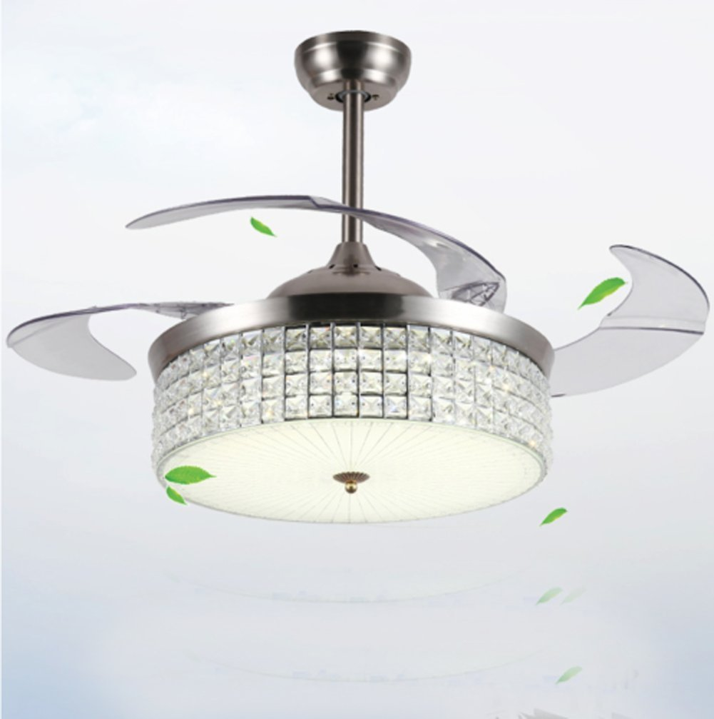 Modern LED Crystal Ceiling Fan Lamp Remote Control Chandelier Home Lighting Fixtures(42in) kele dreamer