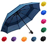 Fidus Compact Windproof Vented Automatic Travel Umbrella With Double Canopy - Large Lightweight Folding Car Golf Umbrella for Women Men Kids-navy blue