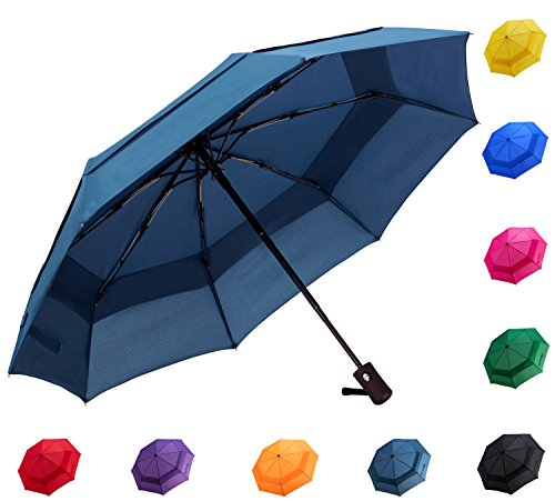 Fidus Compact Windproof Vented Automatic Travel Umbrella With Double Canopy   Large Lightweight Folding Car Golf Umbrella For Women Men Kids Navy Blue