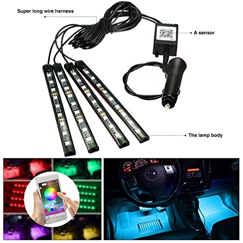 Dual Smart USB Ports Car Charger 4332977267 AMBOTHER 4Pcs Car LED Interior Light Neon Floor Atmosphere Decorative Underdash Strip Lights Kit 48-LEDs Multi Color with Sound Active and IR Wireless Remote Control