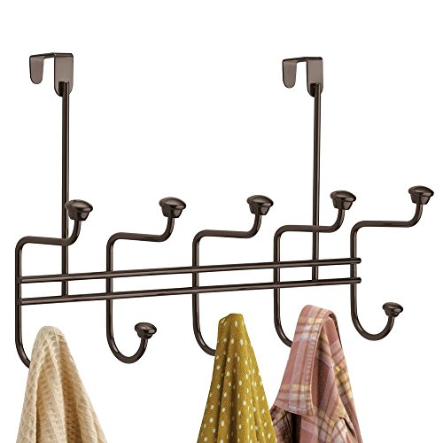 mDesign Decorative Metal Over Door 10 Hook Storage Organizer Rack - to Hang Coats, Jackets, Hoodies, Hats, Scarves, Purses, Leashes, Bath Towels, Robes, Men's and Women's Clothing - Bronze (Hoody Purse)