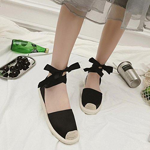 Sommer Strohsandalen ,Kaiki Womens Flat Espadrilles Knöchelriemen schnüren sich oben Sommer Feiertags Sandelholz Schuhe Black