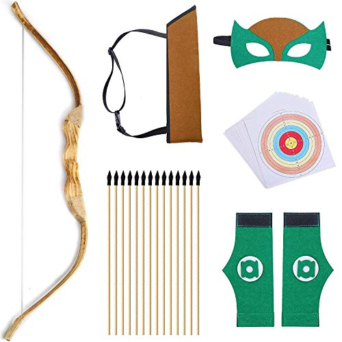 "KNIDOSE Beginners Bow and Arrow For Kids | 35 Pc Archery Set Outdoor or Indoor| Wooden 32"" Bow, 15 Safety Rubber Tip 18"" Arrows, 15 Target Sheets, 1 Quiver, 2 -"