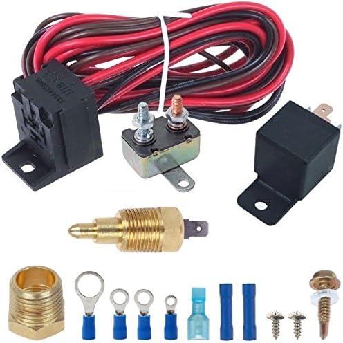 American Volt 140F-210F Electric Radiator Fan Thermostat Sensor Ground Switch NPT Inch Thread Kit 3//8 Inch, 160F On - 145F Off