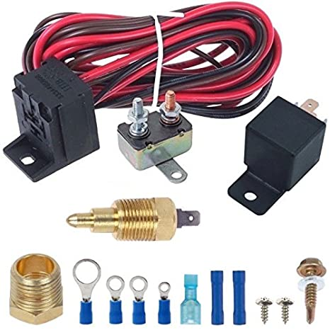 American Volt Electric Engine Fan Grounding Thread-in Thermostat Relay  Controller Switch Kit (1/2