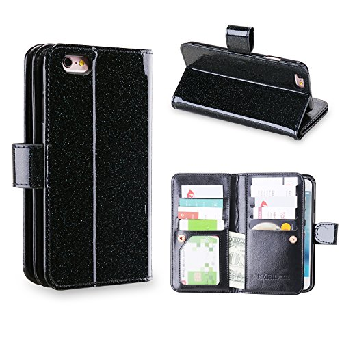 iPhone 6S Case, iPhone 6 Case, Karidge iPhone 6S Glitter Wallet Case, Bling Slim Faux Leather Magnetic Closure Credit Card Slot Cash Holder Protective Case for iPhone 6 / iPhone 6S 4.7″, Shiny Black