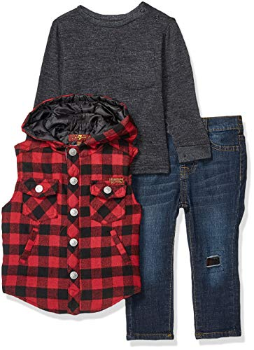 7 For All Mankind Baby Boys Flannel Vest, Long Sleeve Shirt and Jean Set, Buffalo Check, 24M from 7 For All Mankind
