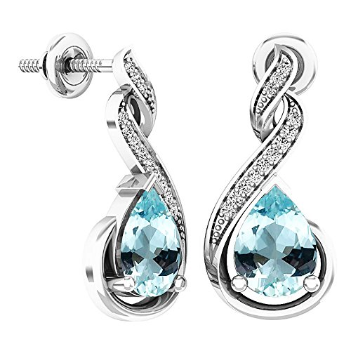 Aquamarine Pear Earrings - Dazzlingrock Collection 8X6 MM Each Pear Aquamarine & Round Diamond Ladies Infinity Dangling Earrings, Sterling Silver