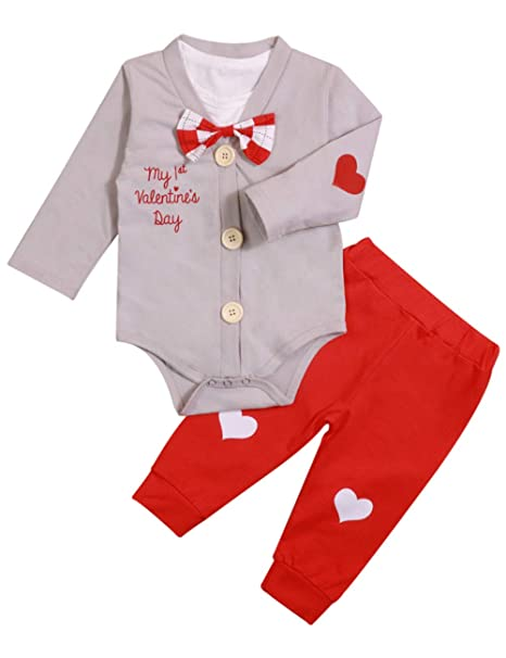 76f318dd60810 Newborn Baby Boy Girl Clothes My First Valentine's Day Rompers  Bodysuit+Cute Pant 3PCS Gentleman Outfit Set