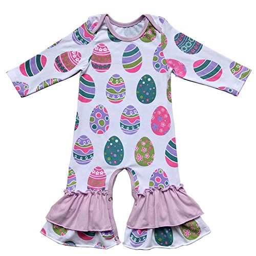 Newborn Baby Girl 1st Valentine's Day Birthday Outfit Love Heart Romper Easter Egg Bodysuit Toddler Little Girl Icing Ruffle Jumpsuit Pants Long Sleeve Pajamas Homewear Photo Party Clothes Purple 2-3T -