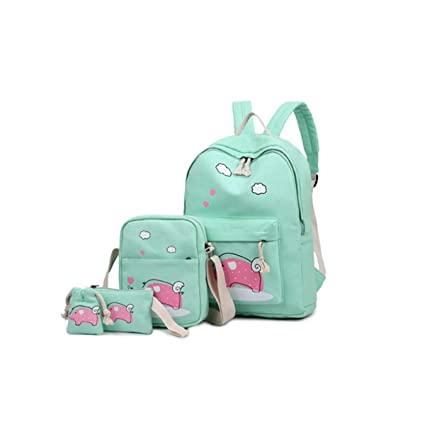 041d52c0df2 Bagzar Set of 4 Bagpack Combo Lightweight Women's Canvas Backpack for  College School and Mummy Multifunctional Travel Bags (Green)