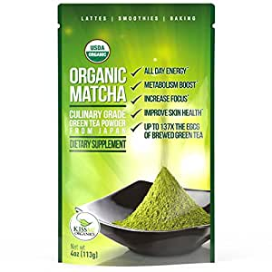 Matcha Green Tea Powder - Japanese Organic Culinary Grade Matcha - 4 oz (113 grams) - Increases Energy and Focus and Naturally Supports Weight Loss - From Kiss Me Organics