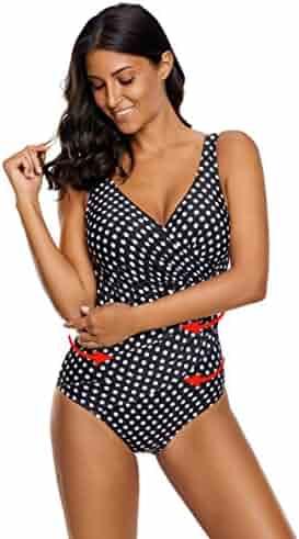 79c544fbc8 Zando Stylish Slimming Ruched Plus Size Tummy Control Swimwear V-Neck  Backless One Piece Swimsuit