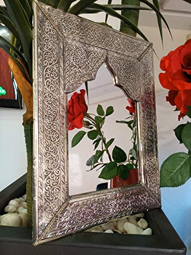 Mirror for wall decor Handmade covered Silver Metal 12.8 Inch on 10.8 Inch Moroccan Mirror for decoration hall living room Bathroom Vanity Bedroom wall hanging mirror for home decor clearance ()