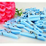 Adorox Small Clothes Pins Baby Shower Clothespin Favors Pink Girl Blue Boy Party Game (Blue (48 Pieces))