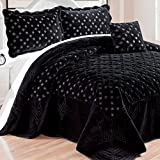 Oversized King Comforters 120x120 Home Soft Things Serenta Faux Fur Quilted Tatami 4 Pcs Bedspread Set, King Black