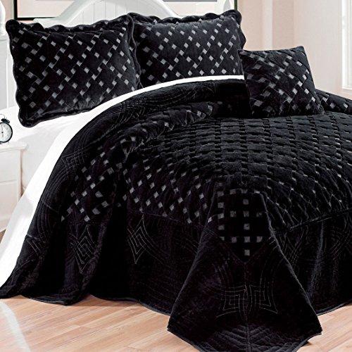 Serenta Faux Fur Quilted Tatami 4 Pcs Bedspread Set, King Black -