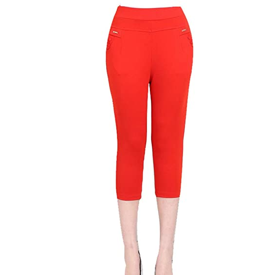 ZKOO Mujeres Stretch Leggings Recortada Color Sólido Sin Costura ...
