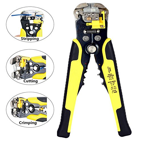 Wire Stripper, SpinAmz 8-Inch Self-Adjusting Automatic Cable Cutter Crimper, 3 in 1 Multi Tool Wire Stripping Cutting Pliers, 10-24 AWG (0.2~6.0mm²) (Yellow)