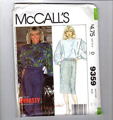 Dynasty Shoulder Pad - 1984 McCall's Linda Evans Blouse Shoulder Pads Skirt Pattern 9359 Dynasty Collection Misses 12