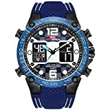 Men's Dual Time Analog Digital Quartz Watch Big Dial Waterproof Military Silicone Band Sport Wrist Watches for Men (Blue)