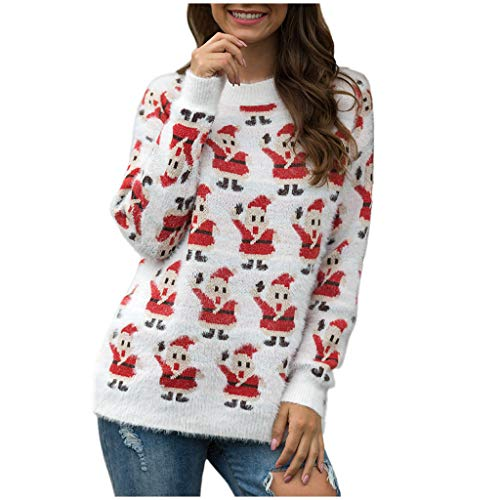 Ultramall Crazy Christmas Sweater Women Long Sleeve O-Neck Christmas Tree Knitting Sweater Tops (Family Party 30 Great Games Outdoor Fun)
