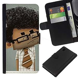 Planetar® Modelo colorido cuero carpeta tirón caso cubierta piel Holster Funda protección Para Sony Xperia Z1 / L39h / C6902 / C6903 ( Geek Scientist Boy Man Curly Black Hair Art )
