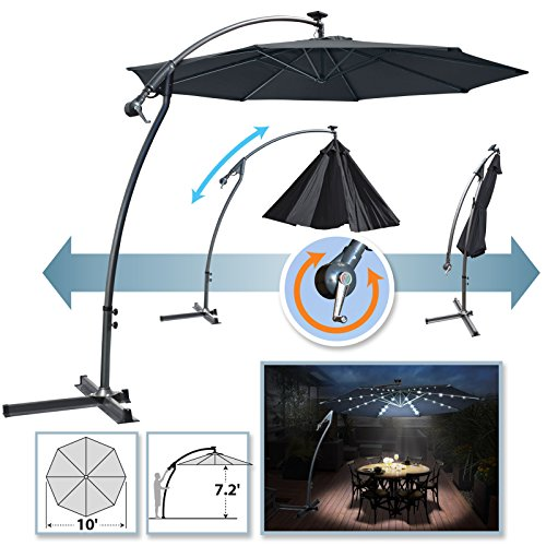 BenefitUSA 10ft Offset Umbrella Patio Cantilever Umbrella with Lights & Rotation in 360 Degree (In Patio)