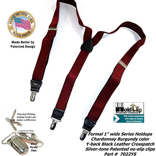 96d8f5aa4df Holdup Suspender Company s Y-back Formal Series Chardonnay Burgundy Wine  Colored Men s Suspenders with Silver