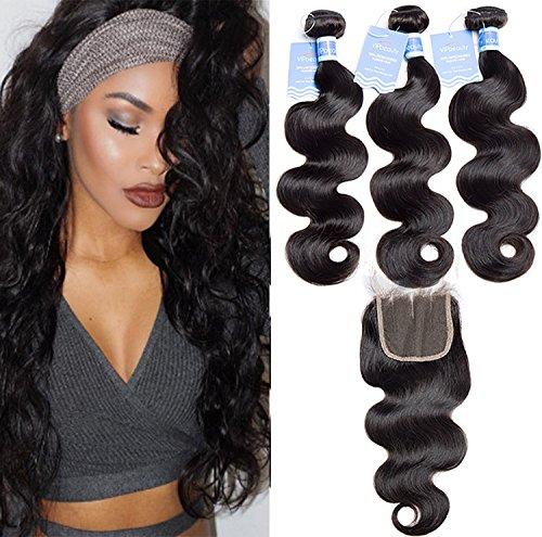 VIPBeauty Body wave Remy 100% Naturelle noir bresiliens Cheveux Humain Extensions Tissage de cheveux ondule 95-100g/pc